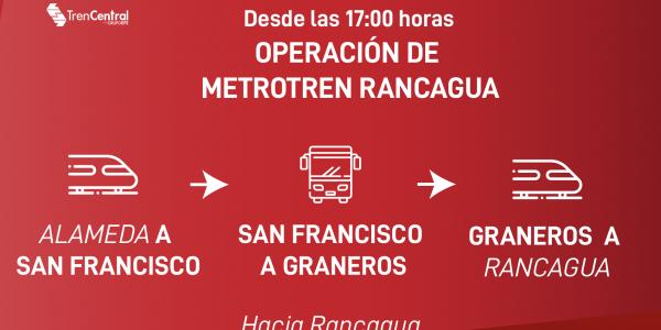 Tren Central da a conocer medidas de contingencia por afectación a vías de servicio Metrotren Rancagua para esta tarde