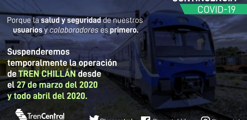 Tren Central informa suspensión del servicio Chillán.
