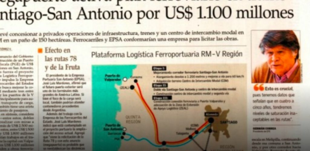 Megapuerto activa plan ferroviario en tramo Santiago-San Antonio por US$ 1.100 millones
