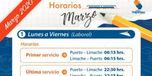 Metro Valparaíso informa extensión horaria y frecuencia de servicios a partir de marzo