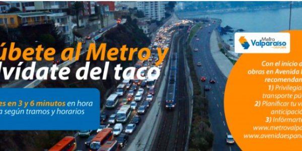Metro Valparaíso cuenta con oferta de servicios reforzada para recibir a los nuevos pasajeros que opten por Metro ante obras en Av. España