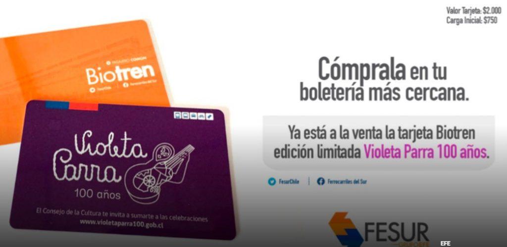Biotren celebra a Violeta Parra con tarjeta que recuerda el centenario de su nacimiento