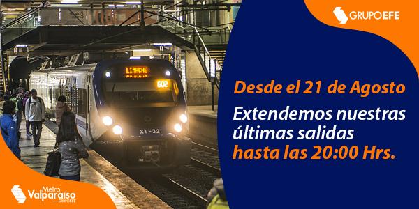 Metro Valparaíso extiende horario de servicio desde este viernes 21 de agosto
