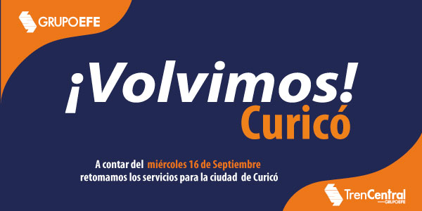 Tren Chillán abrirá estación Curicó y agregará salida extra este jueves 17 de septiembre