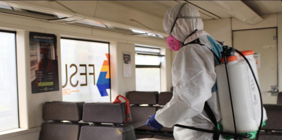 Fesur refuerza sanitización de trenes con nanopartículas de cobre